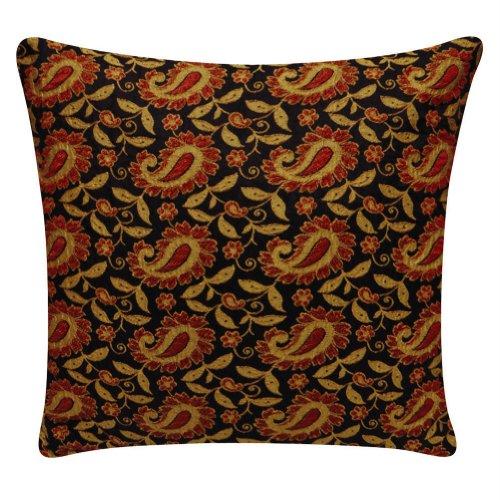 Designer Black Cushion Cover Decorative Home Decor Floral Print Pillow Case Indian Art India16'' Inches