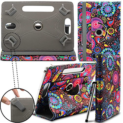 Prestigio MultiPad 8.0 Pro Duo Tablet Neues Design Universelle um 360 Grad drehbare PU-Leder Designer bunte Hülle mit Standfunktion - Cover - Tasche - Jellyfish / Qualle - Von Gadget Giant®