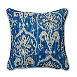 "Throw Pillow Ikat Blue 18"" x 18"" w/ Insert"