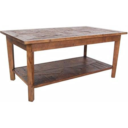 """Living Room Coffee Table with Extra Shelf, 42"""" Long, Made with Solid Reclaimed Handcrafted Hardwood"""