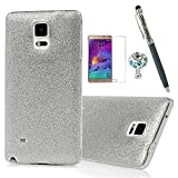 Note 4 Case,Samsung Galaxy Note 4 Case - Slim Fit Lightweight Shock-Absorption Shiny Powder Soft Flexible TPU Rubber Skin Bumper Ultra Thin Protective Frosted Coating Cover by Badalink - Silver