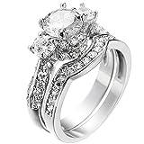 XAHH Women's 2 PCS Platinum Plated Ring Princess Cut 3 Cubic Zirconia Bridal Engagement Wedding Band Set Size 7