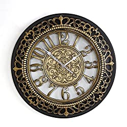 Foxtop 14 Inch European-style Vintage Retro Antique Royal Style Resin See Through Wall Clock, Creative Home Living Room Boutique Hotel Mute Wall Clock (Gold)
