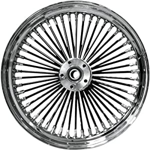 Drag Specialties Fat Daddy Black 50 Spoke Radially Laced Front Wheel – Single Disc – 21×2.15 , Position: Front, Rim Size: 21, Color: Black 04225-2028-08BS