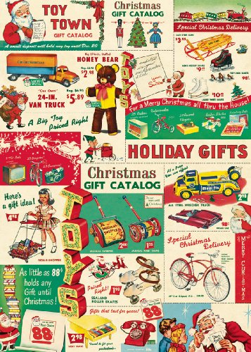 Cavallini Vintage Christmas Toys Wrapping Paper 0
