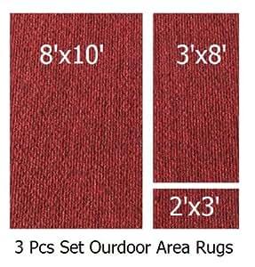 Indoor Outdoor Brick 3 Piece Set Patio Rug 39 S 8x10 Area Rug 3x8 Runner 2x3 Mat