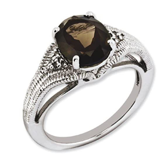 Sterling Silver Oval Smokey Quartz and Rough Diamond Ring - Size N 1/2 - JewelryWeb