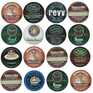 16 Pack - Dark and Bold Coffee Variety Sampler K-Cup Pack for Keurig Brewers - Green Mountain Coffee Roasters, Tully's, Emeril's, Donut House, man's Own, Barista Prima, Folger's from Green Mountain Coffee Roasters, Tully's, Folger's, Emeril's