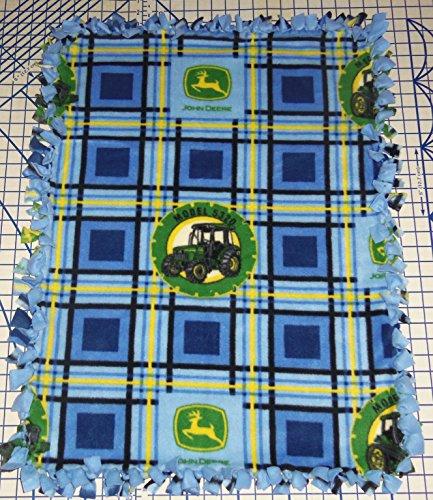 John Deere Fleece Blanket Baby Tractors Blue Plaid Pet Stroller Hand Tied Yellow front-189813