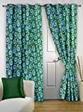 "Story@Home Eyelet Fancy Polyester 2 Pc COMBO Ringtop Eyelet Designer Door Curtains,  7 ft  46 "" X 84 "" Aqua"