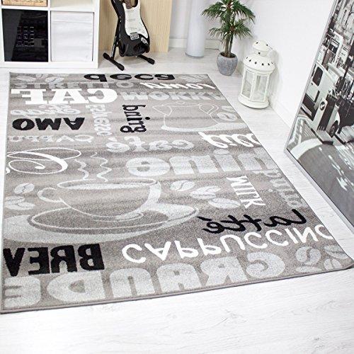 Trendiger-Kaffee-Teppich-verschiedene-Schriftarten-und-Muster-Meliert-in-Grau-Wei-und-Schwarz-ideal-fr-die-Lounge-oder-Kche-KO-TEX-Zertifiziert-Mae120-cm-x-170-cm