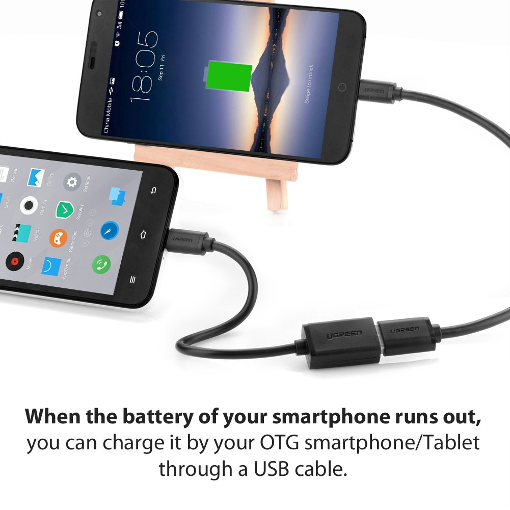 Ugreen® Micro USB 2.0 OTG Cable On The Go Adapter Male Micro USB to Female USB for Samusung S6 Edge S4 S3 Android or Windows Smart Phones Tablets with OTG Function 6 Inch Black
