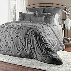 Unique Home Pleat Comforter Set, Queen, Grey, 7 Piece