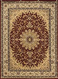 Burgundy Traditional Isfahan Dunes High Density 1 Inch Thick Wool 1.5 Million  Point Persian Area Rugs 5\'2 x 7\'3