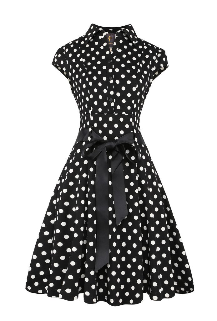 Elf Queen Women's Vintage Polka Dot Cocktail 1950s Tea Party Dress 0
