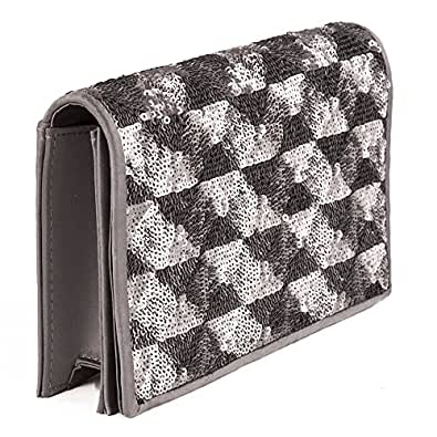 Milena gray clutch bag, faux leather, size in cm: 12 hx 20 wx 4 p