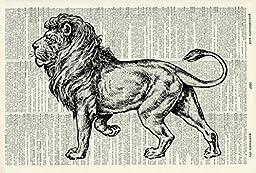 LION ART PRINT - VINTAGE ART PRINT - ANIMAL Art Print - Illustration - Black and White Print - Animal Print - Vintage Dictionary Art Print - Wall Hanging - Home Décor - Housewares - Book Print - 517D