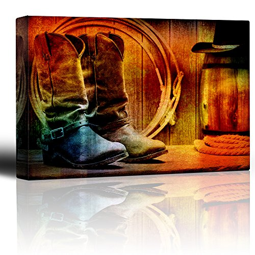 Wall26 - Colorful Cowboy Still Life - Boots, Rope and Hat - - Wood grain vintage feel - Country Living Decor - Canvas Art Home Decor - 16x24 inches (Vintage Cowboy Decor compare prices)