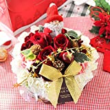 花由 クリスマスver 生花アレンジメント フラワーケーキ 5号サイズ 【4日以降のお届け】