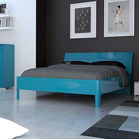 Bett in Turkis Hochglanz modern Breite 146 cm Tiefe 196 cm Liegefläche 140x190 Pharao24