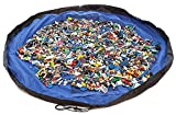 EZY Tidy Storage Bag - Nursery Storage and Organization Made Easy! - Large 60 Inch diameter floor mat folds up quickly & easily into a shoulder bag - Perfect for Lego products & other favorite toys at home or on the go. Black/Blue - 100% Guarantee