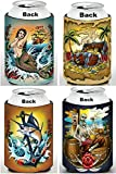 Old School Tattoo Cozy 4 Pk, Boaters gifts, Stocking Stuffers, Tiki Bar Accessories, Alcohol Related Gifts