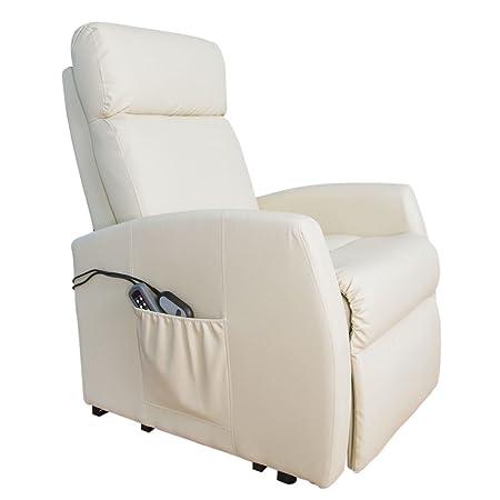 Poltrona relax massaggiante Levanta persone Compact. Funzione calore. 5programmi. 3tocco. 8Motori. Doppio Telecomando. Ruote. Finta pelle di alta qualità. Tasca Vetrini. beige