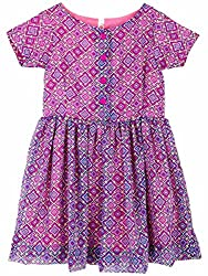 Oye Girls Dress with Short Sleeve - Blue/Multiprint (1-2Y)