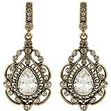 JoinMe Women's Vintage Inspired Crystal Floral Pattern Chandelier Pierced Dangle Earrings Clear