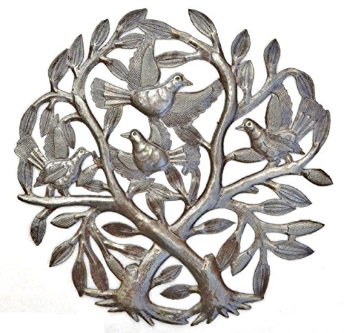 "Crossing Trees Metal Wall Art Handmade in Haiti From Recycled Drums 15"" X 15"""