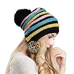 Ibeauti Fashion Striped Winter Thick Warm Knitted Crochet Cap Beanie for Women (Yellow)