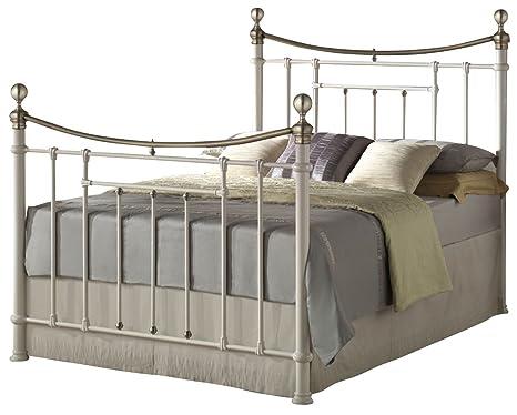 Birlea Bronte 5ft Kingsize Metal Bed, Cream & Brass