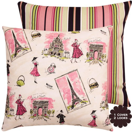 Chloe & Olive From Paris With Love And Stripes Collection Parisian Decorative Pillow Cover, 20-Inch, Pink front-1079094