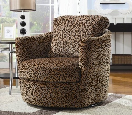 swivel accent chair in leopard pattern