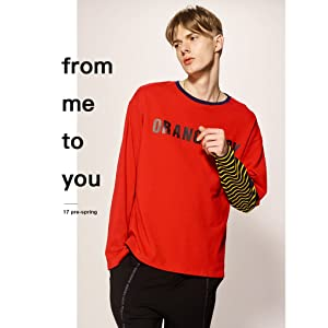 VIISHOW 春  メンズ長袖Tシャツ クルーネック?Uネックカットソー フェイクレイヤード ファッション長袖カットソー カジュアル重ね着風袖 トップス 袖ボーダー 胸プリント レッド