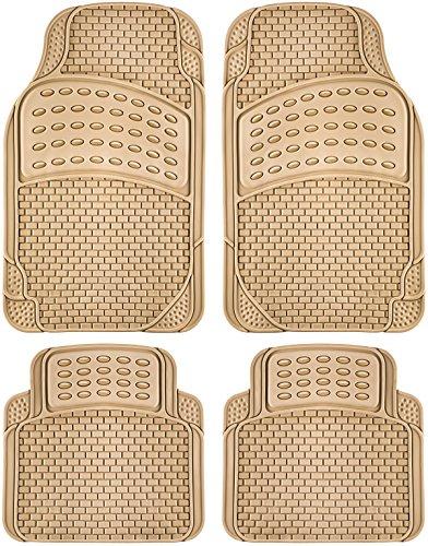 OxGord 4pc Rubber Floor Mats Universal Fit Front & Back Driver & Passenger Seat Heavy Duty for Car SUV Van and Truck - (Beige) (Car Mats Brown compare prices)