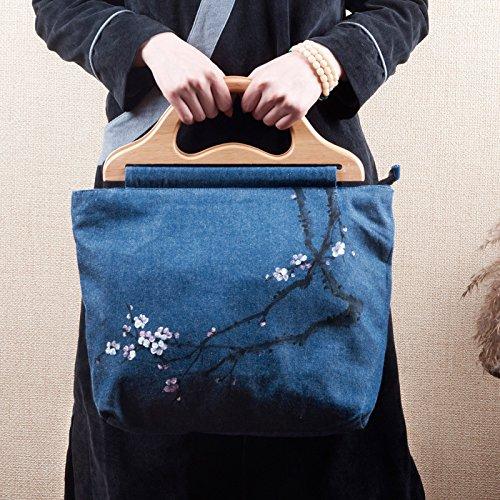 Vintage donne etniche manico in legno sacchetti di tote biancheria di cotone borse borsa a mano le donne,Mazze Legno cowboy