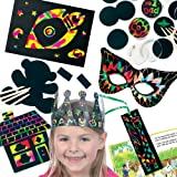 Scratch Art Super Value Pack. Save 25% when bought in pack! Includes 8 scratch art crowns, 12 scratch art bookmarks, 10 scratch art badges, 10 scratch art novelty magnets, 8 scratch art doodle sheets and 10 scratch art masks.