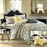 Chic Home Radiance 5-Piece Luxury Reversible Comforter Set with Shams and Decorative Pillows, King Size, Printed