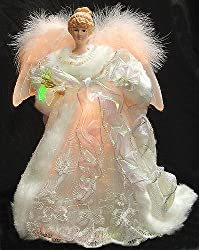 "14"" Ice Palace White Iridescent Lighted Fiber Optic Angel Christmas Tree Topper"