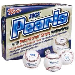 Jugs Pearl Leather Baseballs (One Dozen) by Jugs