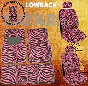 11pc Safari Pink Zebra Print Car Floor Mats, Low Back Seat Covers, Steering Wheel Cover & Shoulder Pad Set from LA Auto Gear