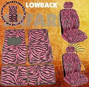 11pc Safari Pink Zebra Print Car Floor Mats, Low Back Seat Covers, Steering Wheel Cover & Shoulder Pad Set