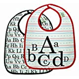 Sugar Booger Baby Waterproof Mini Bib Gift Set of 2. Vintage Alphabet Feeding Collection. ORE Originals.