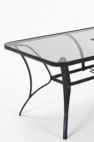 ae7fc8d0bae9 Cosco Outdoor Living 88646GLGE Paloma Patio Tempered Glass Top Dining Table,  Gray