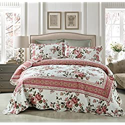 DaDa Bedding Cottage Roses Reversible Patchwork Quilted Bedspread Set - Bordered Bright Vibrant Colorful Floral Dusty Rose Mauve Pink & White Print - Queen - 3-Pieces