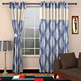 Ajay Furnishings 3 Piece Polyester Paisley Window Curtain - 5 ft, Silver