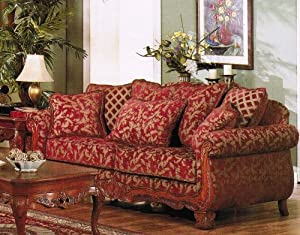Amazon Com Sofa Couch Burgundy Amp Gold Floral Chenille
