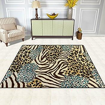 ALAZA Animal Zebra Leopard Print Area Rug Rugs for Living Room Bedroom 7x5