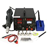 4 Nozzles Soldering Station Welder Hot Air Gun DC 3 in 1 LED Power Supply Welding Hot Air Iron Gun Rework Temperature Controlled, Stand Included (Color: Black, Tamaño: 110V/AC)